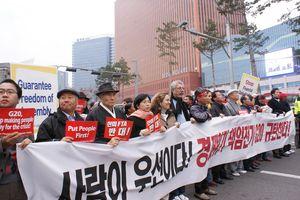 Korea FTA protest
