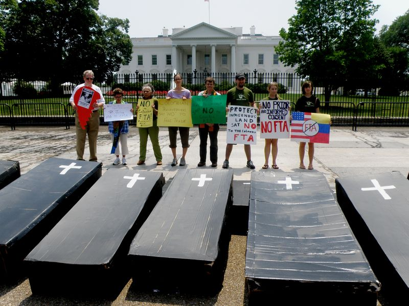 Colombia FTA Protest July 11 2011 WH Coffins Signs